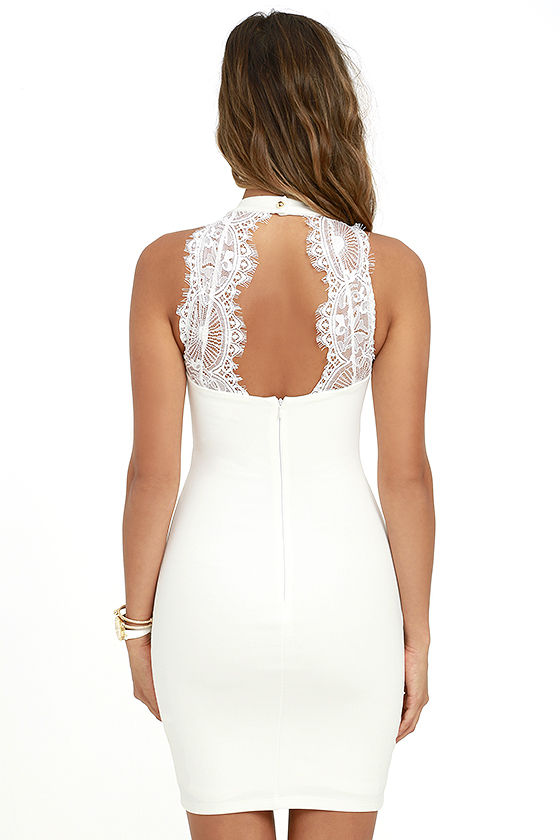 Endlessly Alluring White Lace Bodycon Dress 4