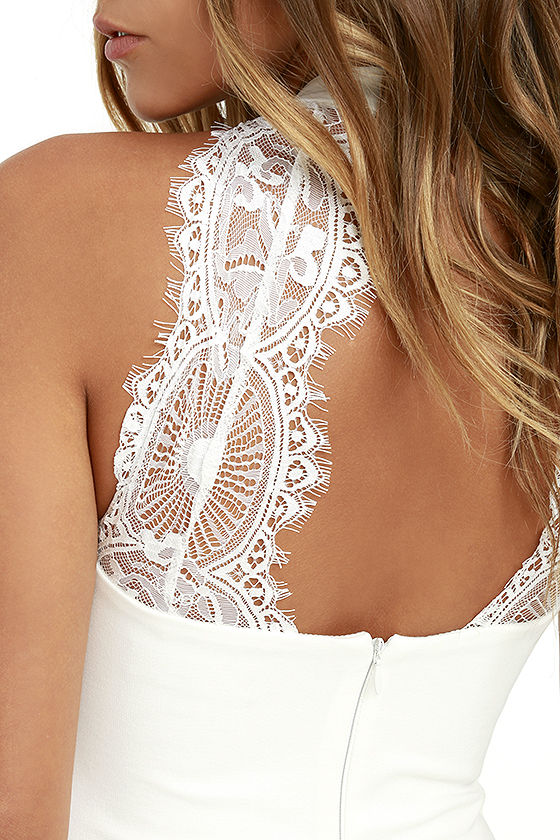 Endlessly Alluring White Lace Bodycon Dress 5
