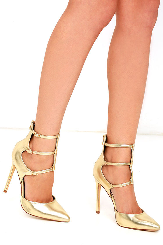 51ff821aa9de Sexy Gold Heels - Caged Pumps - Pointed-Toe Pumps -  36.00