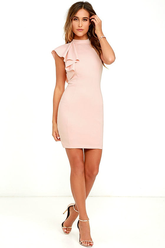 9946e73d1a4e Chic Blush Dress - Ruffle Dress - Bodycon Dress - $56.00