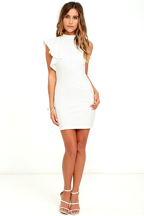 b044605ed3f1 Chic Ivory Dress - Ruffle Dress - Bodycon Dress - $56.00