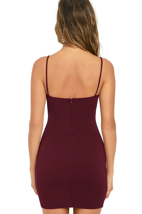 Flaunt It Burgundy Bodycon Dress 4