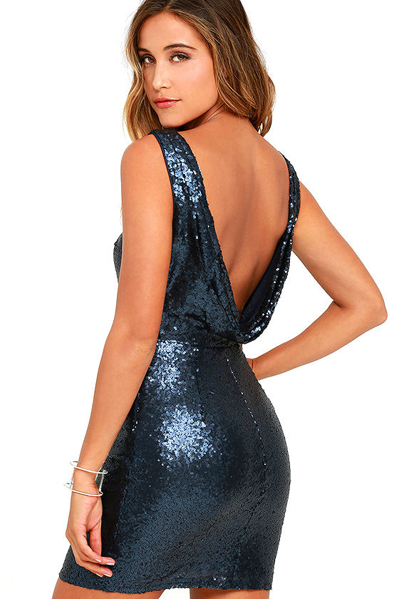 Shine Time Navy Blue Sequin Dress 1