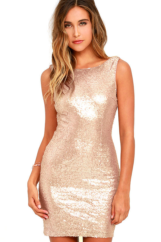 Sexy Sequin Dress - Rose Gold Dress - Bodycon Dress - Backless ...