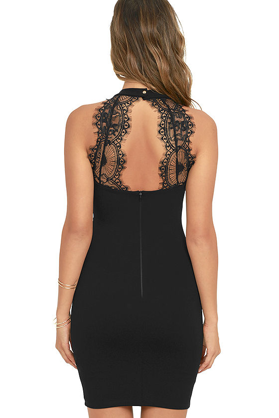 Endlessly Alluring Black Lace Bodycon Dress 4