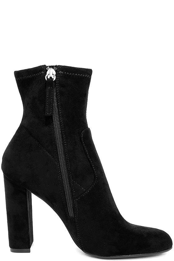 Steve Madden Edit Black Suede High Heel Mid Calf Boots