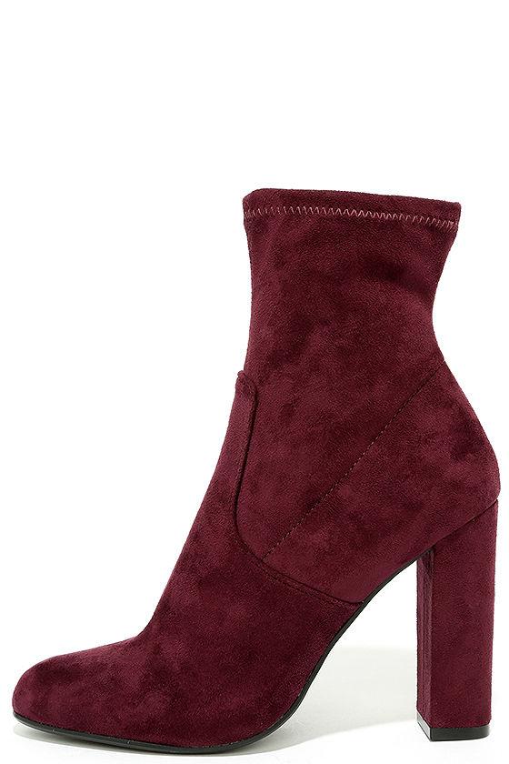 9d1c5a8c3d0 Steve Madden Edit Burgundy Suede High Heel Mid-Calf Boots