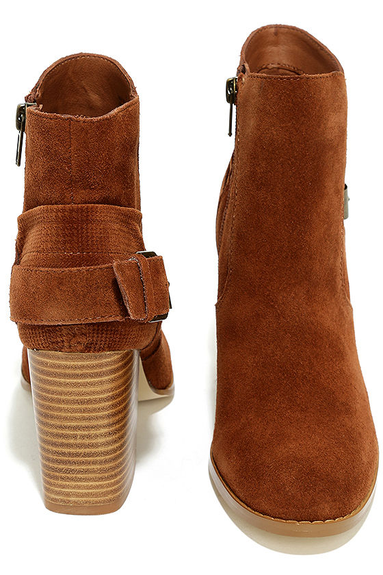 Sbicca Lorenza Cognac Suede Leather Ankle Booties 3