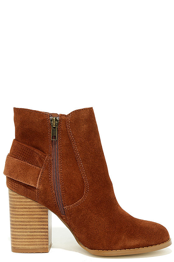 Sbicca Lorenza Cognac Suede Leather Ankle Booties 4