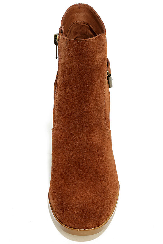 Sbicca Lorenza Cognac Suede Leather Ankle Booties 5