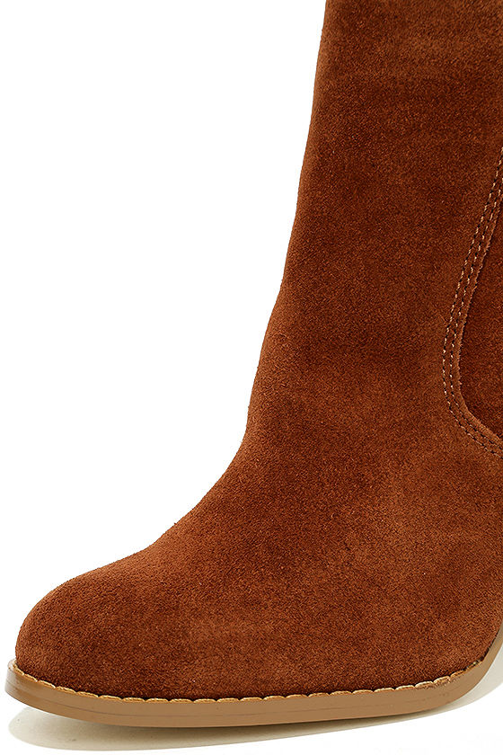 Sbicca Lorenza Cognac Suede Leather Ankle Booties 6