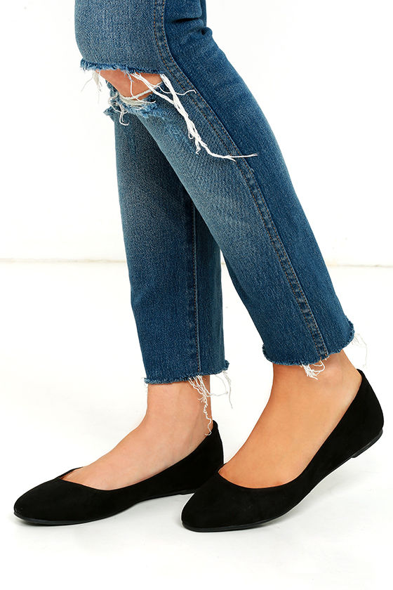 Madden Girl So Cute Flats - Black Flats - Vegan Suede Flats -  39.00