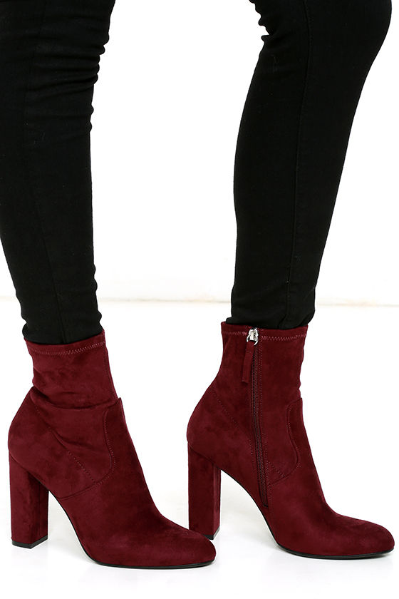 50649206a Steve Madden Edit Burgundy Suede High Heel Mid-Calf Boots