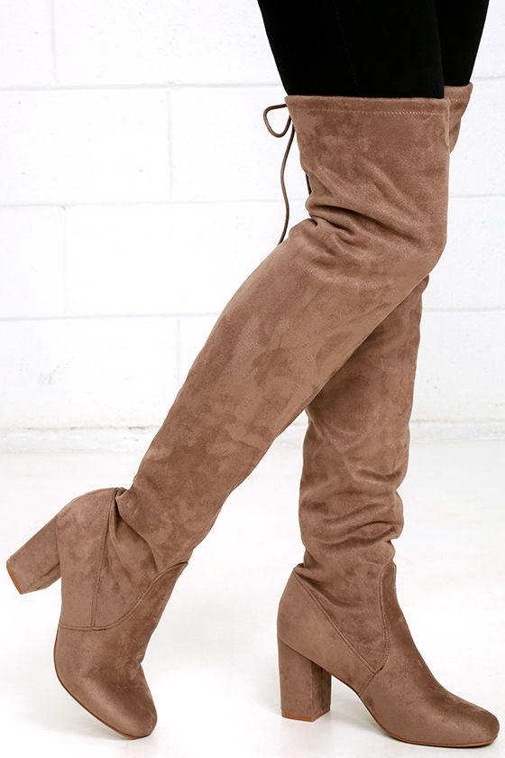 2bb398d53352 Chinese Laundry Kiara - Grey Boots - Vegan Suede Boots - Over the Knee Boots  -  99.00