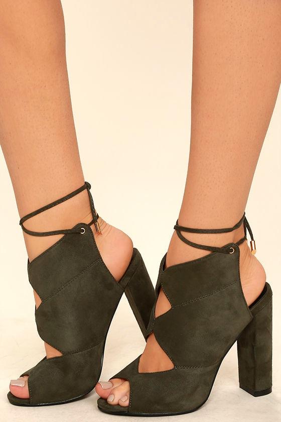 Chic Olive Heels - Vegan Suede Heels