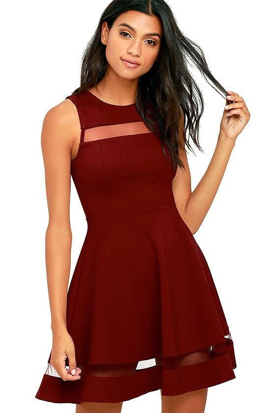 Cute Burgundy Dress - Skater Dress - Mesh Dress -  54.00 700f42d66