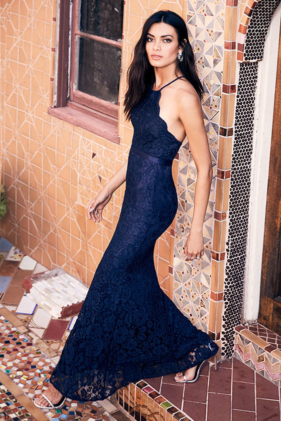 Zenith Navy Blue Lace Maxi Dress 2
