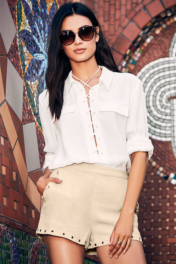 You Know It Ivory Long Sleeve Lace-Up Top 2