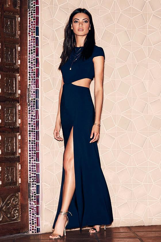 e0d071b71a2e Sexy Navy Blue Dress - Maxi Dress - Cutout Dress - Backless Dress ...