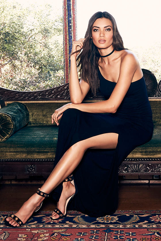 Face to Face Black One Shoulder Maxi Dress 2