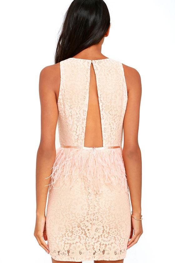 Stunning Blush Pink Dress - Lace Dress - Feather Dress - Sheath ...