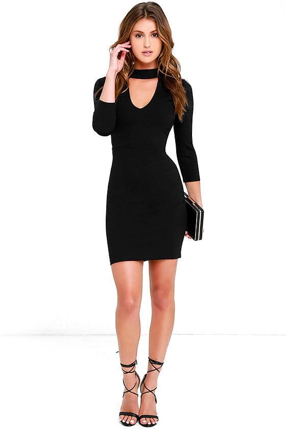 e35fbc8de353 Chic Black Dress - Bodycon Dress - LBD - Mock Neck Dress - $54.00