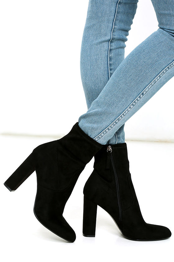 Steve Madden Edit Black Suede High Heel Mid-Calf Boots 1