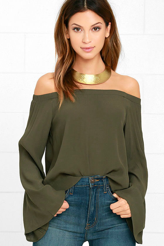 45ef288cb3 Lovely Olive Green Top - Off-the-Shoulder Top - Long Sleeve Top - $42.00