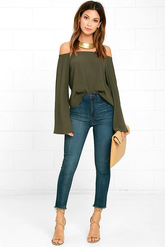6b942035995 Lovely Olive Green Top - Off-the-Shoulder Top - Long Sleeve Top - $42.00