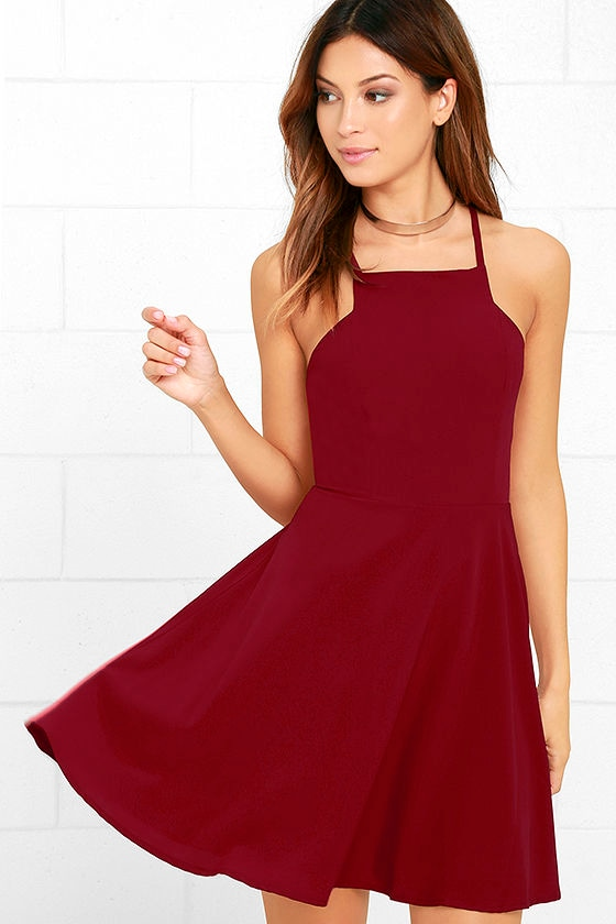 0a313abd755f3 Cute Wine Red Dress - Skater Dress - Fit-and-Flare Dress -  54.00