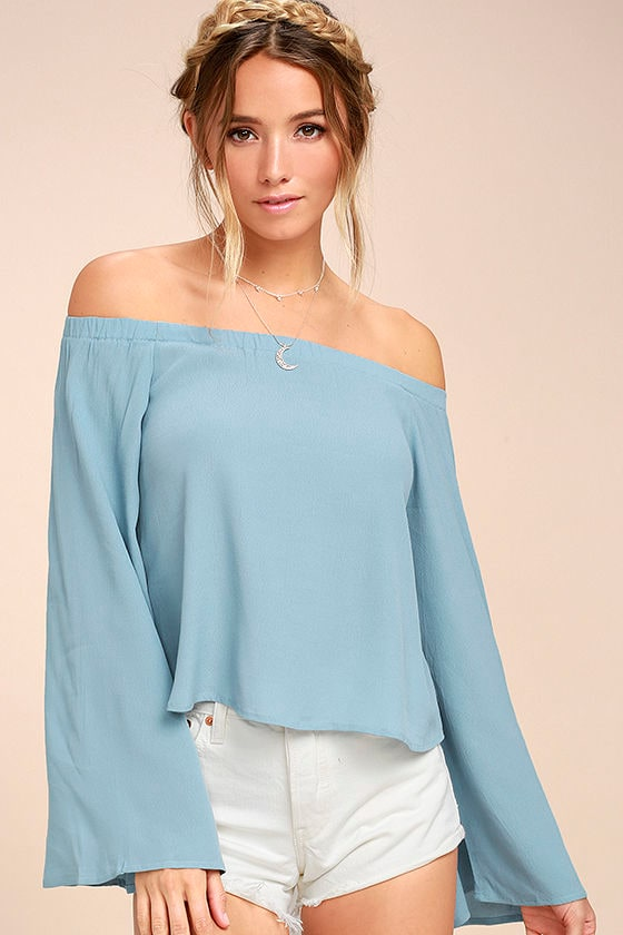 2c77d46dcb Lovely Light Blue Top - Off-the-Shoulder Top - Long Sleeve Top - $42.00
