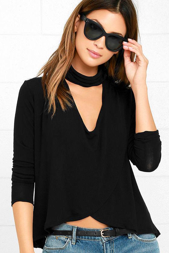 Soho Chic Black Long Sleeve Top 1