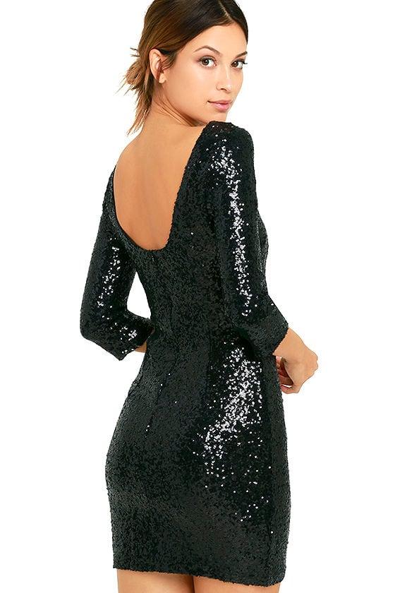 Black Sequin Dress - Cocktail Dress - Homecoming Dress - $63.00