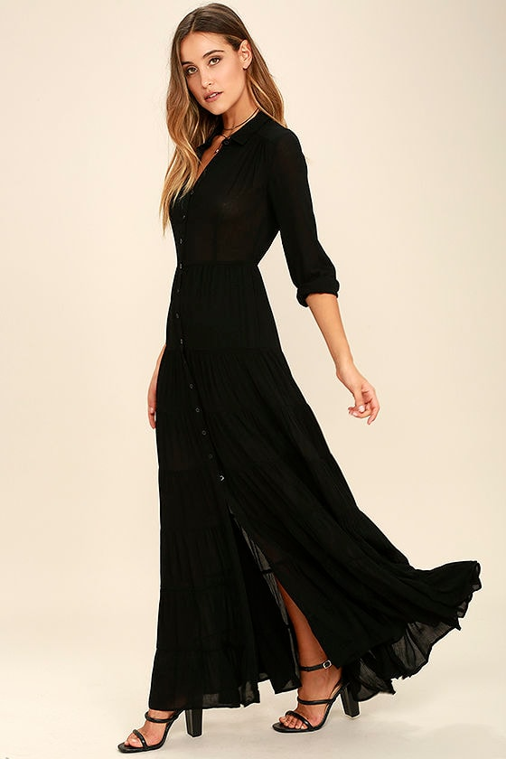 Boho Dress - Black Dress - Maxi Dress - Long Sleeve Dress - $74.00