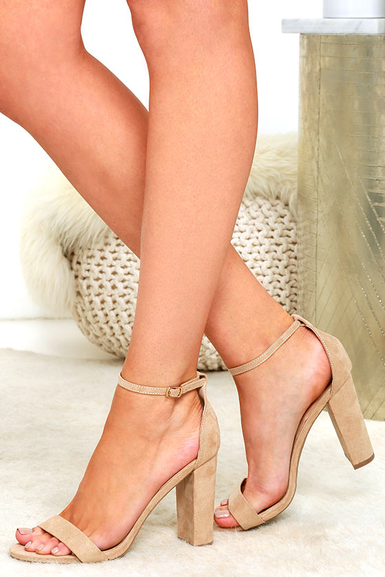 Sexy Nude Suede Heels - Ankle Strap Heels - Single Sole Heels - $25.00