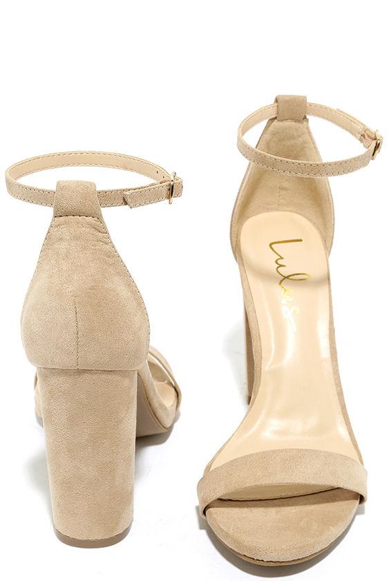 Taylor Natural Suede Ankle Strap Heels 3