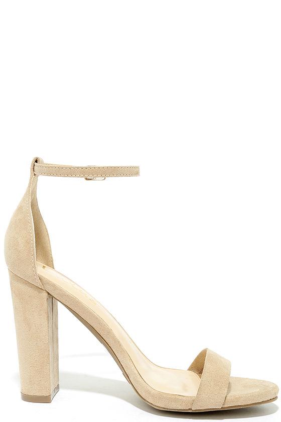 Taylor Natural Suede Ankle Strap Heels 4