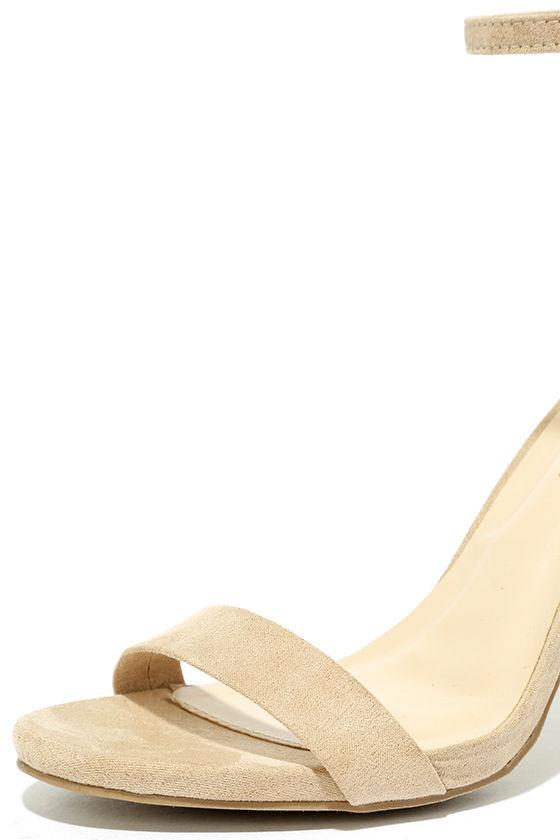 Taylor Natural Suede Ankle Strap Heels 6
