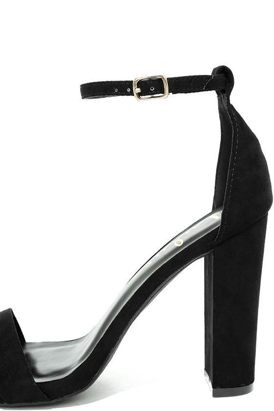 Sexy Black Suede Heels - Ankle Strap Heels - Single Sole Heels ...