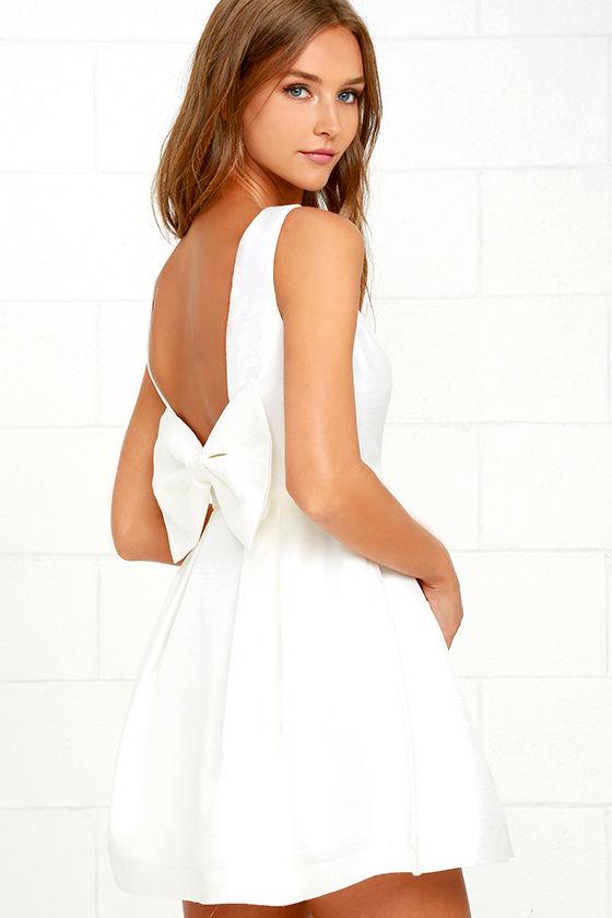 Lovely Ivory Dress - Backless Dress - Bow Dress - $62.00