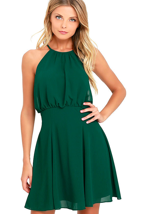 Lovely Forest Green Dress - Skater Dress - Chiffon Dress ...