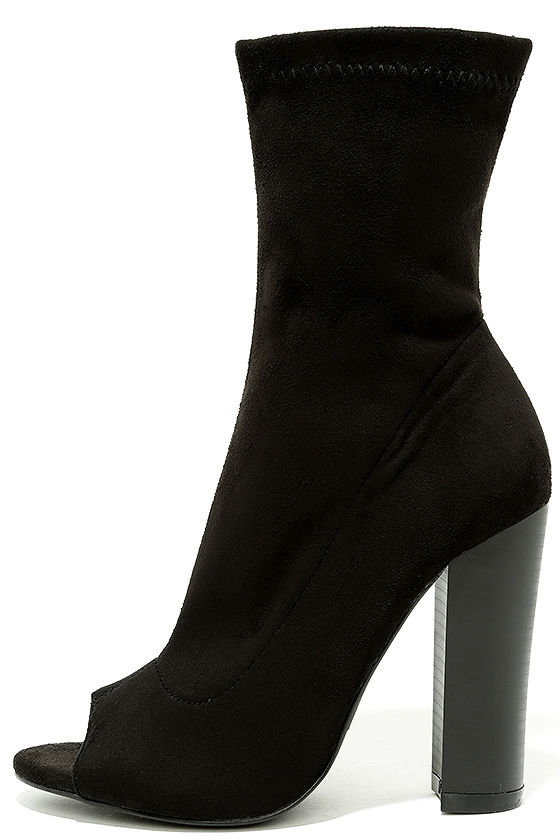 7301165fe62 Stylish Black Booties - Peep-Toe Booties - Vegan Suede Booties - $37.00