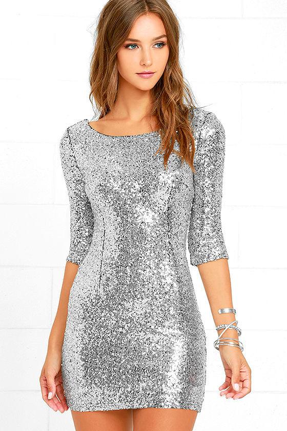Silver Sequin Dress - Cocktail Dress - Homecoming Dress - $63.00