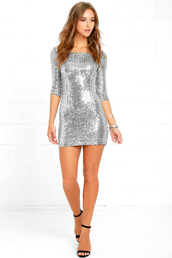 Silver Sequin Dress - Cocktail Dress - Homecoming Dress - $63.00