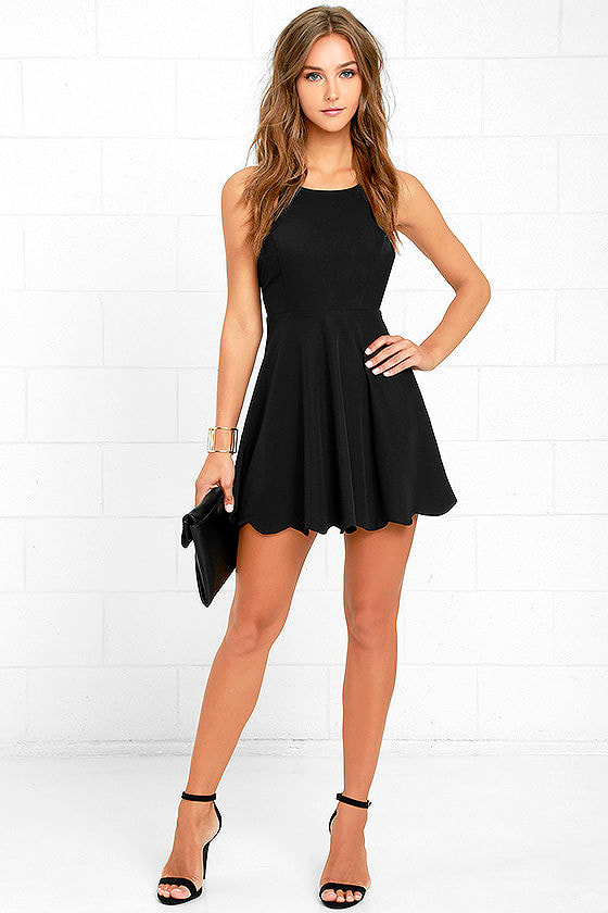 Adorable Black Dress - Halter Dress - Backless Dress - Scallop ...