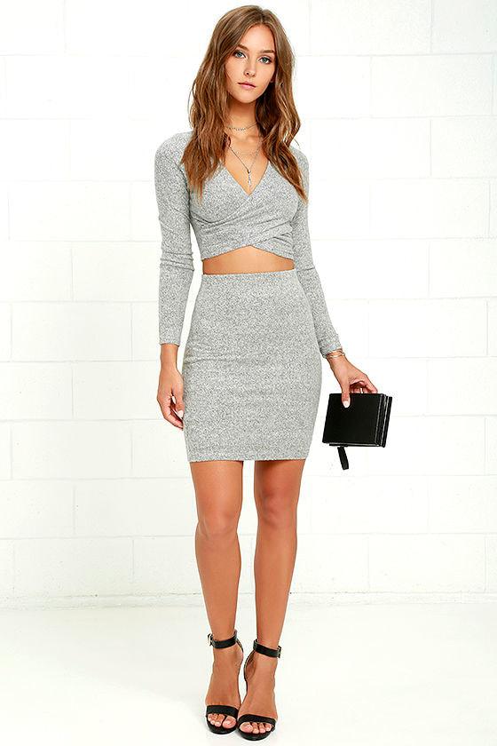Arabesque Heather Grey Two-Piece Dress 3