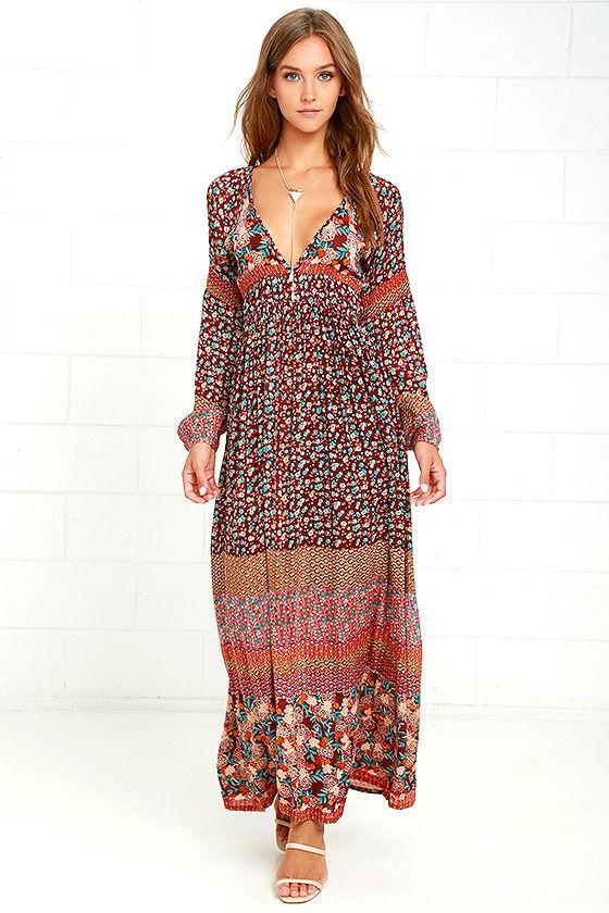 d45eaee89b7fa Boho Dress - Maxi Dress - Burgundy Print Dress - Long Sleeve Dress - $115.00