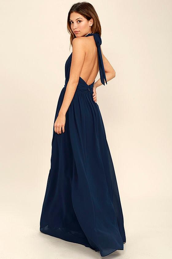 Lovely Navy Blue Dress - Maxi Dress - Halter Dress - $84.00