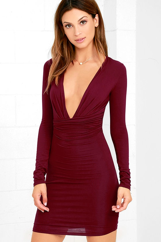 Sexy Wine Red Dress - Bodycon Dress - Long Sleeve Dress - $48.00
