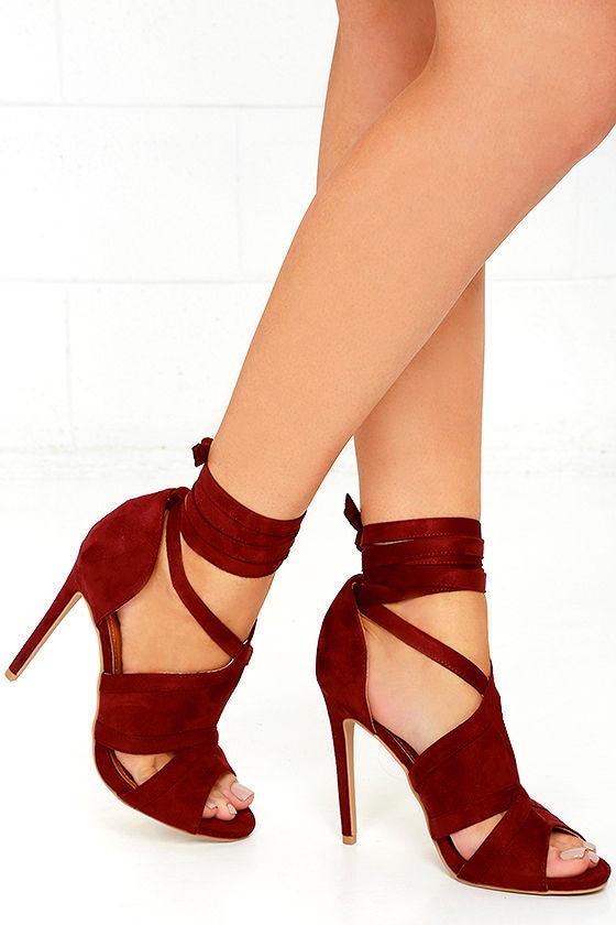6e9c7e808be Sexy Wine Red Suede Heels - Vegan Suede Heels - Lace-Up Heels -  36.00